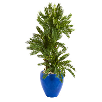 4 Triple Cycas Artificial Plant in Blue Planter - SKU #9207