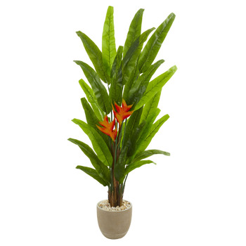 76 Heliconia Artificial Plant in Sand Stone Finish Planter - SKU #9209
