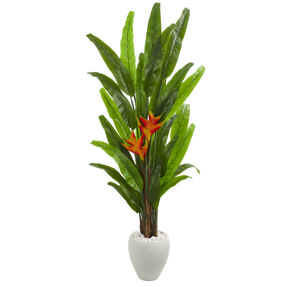 6.5 Heliconia Artificial Plant in White Planter - SKU #9210