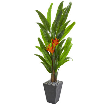 6.5 Heliconia Artificial Plant in Slate Planter - SKU #9211