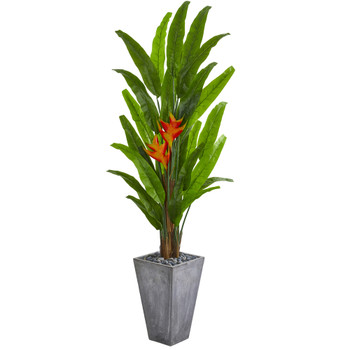 7 Heliconia Artificial Plant in Cement Planter - SKU #9212
