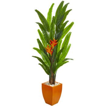 6.5 Heliconia Artificial Plant in Orange Planter - SKU #9213