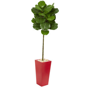 5.5 Fiddle Leaf Artificial Tree in Red Tower Planter - SKU #9214