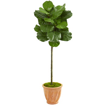 57 Fiddle Leaf Artificial Tree in Terra Cotta Planter - SKU #9217