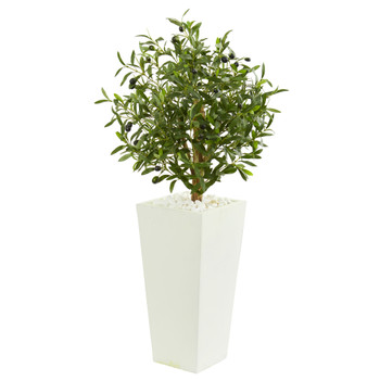 3.5 Olive Artificial Tree in White Planter - SKU #9219
