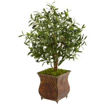 2.5 Olive Artificial Tree in Metal Planter - SKU #9220