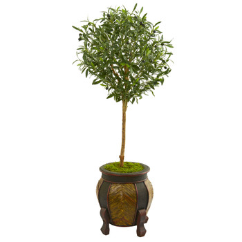 49 Olive Artificial Tree in Decorative Planter - SKU #9225