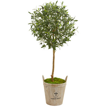 46 Olive Artificial Tree in Farm House Planter - SKU #9228