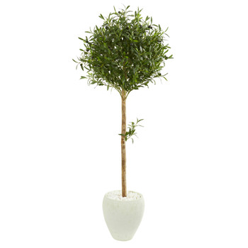 5 Olive Topiary Artificial Tree in White Planter - SKU #9229