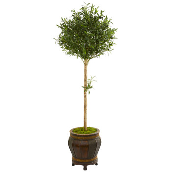 5.5 Olive Topiary Artificial Tree in Decorative Planter - SKU #9231