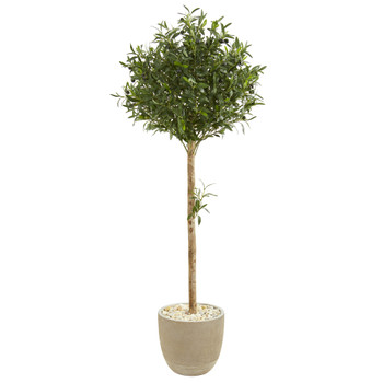 5 Olive Topiary Artificial Tree in Sand Stone Planter - SKU #9232