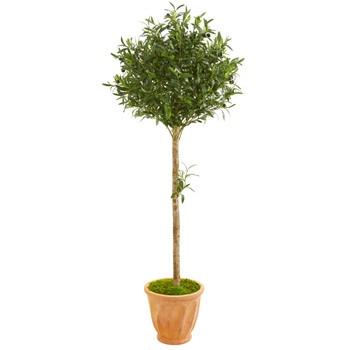 5 Olive Topiary Artificial Tree in Terra Cotta Planter - SKU #9233
