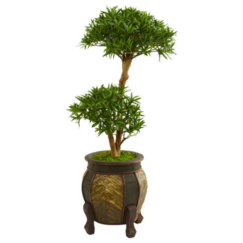 3.5 Bonsai Styled Podocarpus Artificial Tree in Decorative Planter - SKU #9234