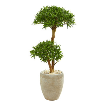 44 Bonsai Styled Podocarpus Artificial Tree in Sand Colored Planter - SKU #9235