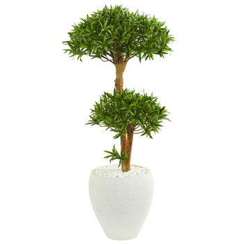 3 Bonsai Styled Podocarpus Artificial Tree in White Planter - SKU #9236