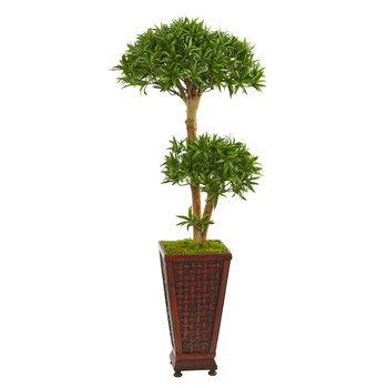 4 Bonsai Styled Podocarpus Artificial Tree in Decorative Planter - SKU #9237