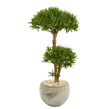 39 Bonsai Styled Podocarpus Artificial Tree in Bowl Planter - SKU #9238