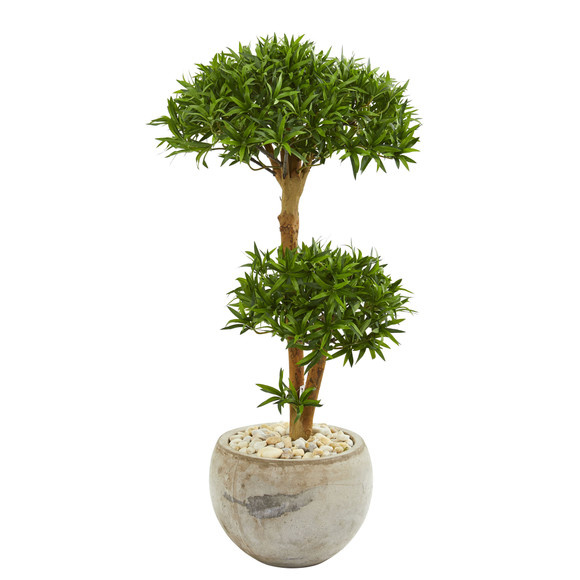 39 Bonsai Styled Podocarpus Artificial Tree in Bowl Planter - SKU #9238