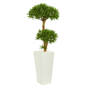 50 Bonsai Styled Podocarpus Artificial Tree in Tower Planter - SKU #9239