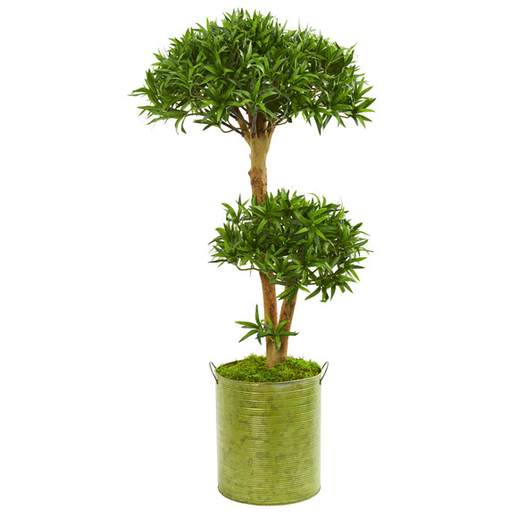 41 Bonsai Styled Podocarpus Artificial Tree in Metal Planter - SKU #9240
