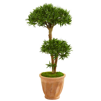 41 Bonsai Styled Podocarpus Artificial Tree in Terra Cotta Planter - SKU #9241