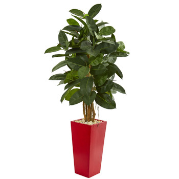 5 Rubber Leaf Artificial Tree in Red Tower Planter - SKU #9248