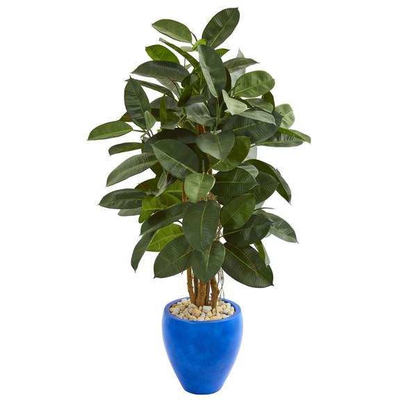 53 Artificial Rubber Tree in Blue Planter - SKU #9250