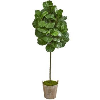 6.5 Fiddle Leaf Artificial Tree in Farmhouse Planter - SKU #9253