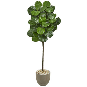 5.5 Fiddle Leaf Artificial Tree in Sand Stone Finish Planter - SKU #9257