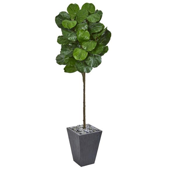 6 Fiddle Leaf Artificial Tree in Slate Finished Planter - SKU #9258