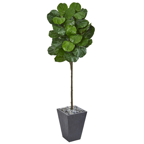 6 Fiddle Leaf Artificial Tree in Slate Finished Planter - SKU #9258