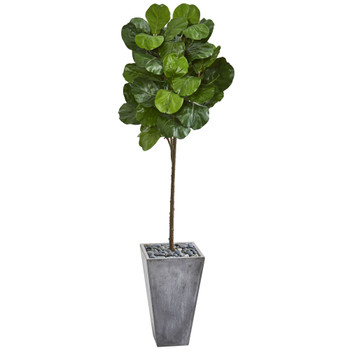 75 Fiddle Leaf Artificial Tree in Cement Planter - SKU #9259