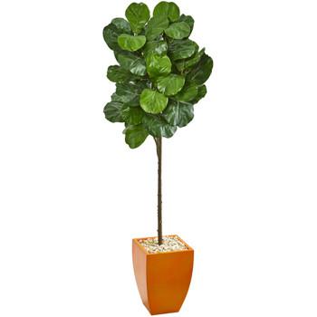 6 Fiddle Leaf Artificial Tree in Orange Planter - SKU #9260