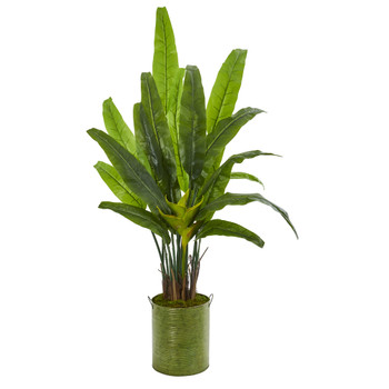 5 Travelers Palm Artificial Tree in Metal Planter - SKU #9267