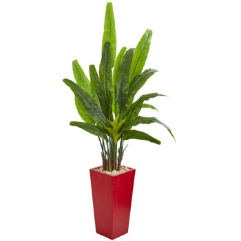 69 Travelers Palm Artificial Tree in Red Planter - SKU #9268