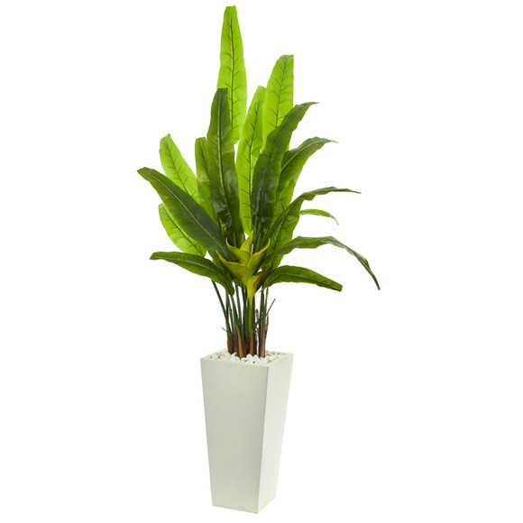 69 Travelers Palm Artificial Tree in White Tower Planter - SKU #9269