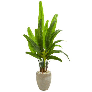 64 Travelers Palm Artificial Tree in Sand Colored Planter - SKU #9271