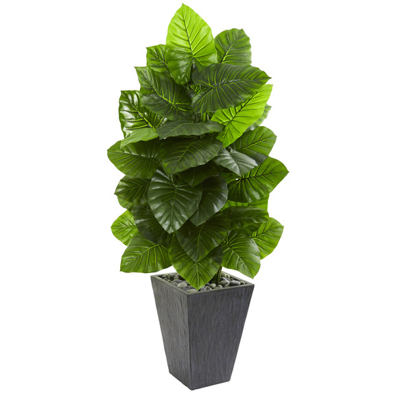 59 Taro Artificial Plant in Slate Finished Planter - SKU #9274
