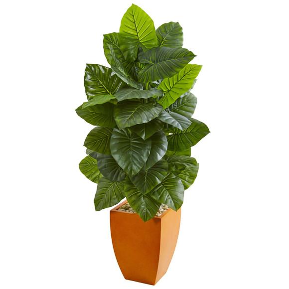 5 Taro Artificial Plant in Orange Planter - SKU #9276