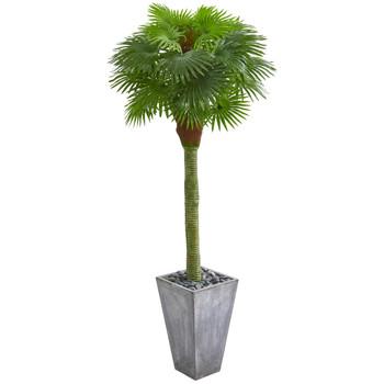6.5 Fan Palm Artificial Tree in Cement Planter UV Resistant Indoor/Outdoor - SKU #9281