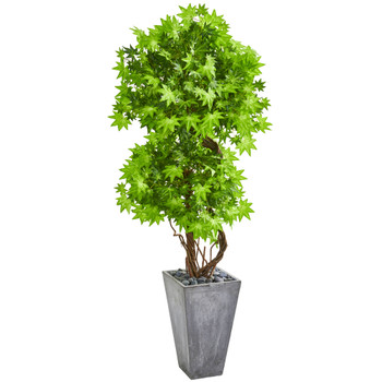 74 Maple Artificial Tree in Cement Planter - SKU #9287