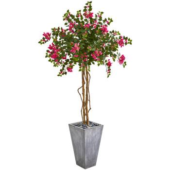 6.5 Bougainvillea Artificial Tree in Cement Planter - SKU #9291