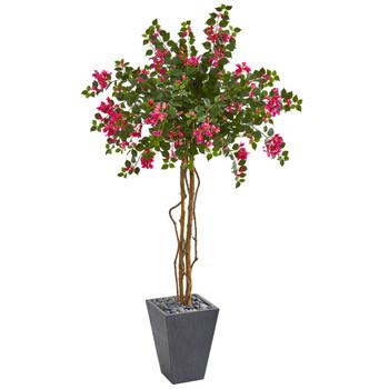 6.5 Bougainvillea Artificial Tree in Decorative Planter - SKU #9292