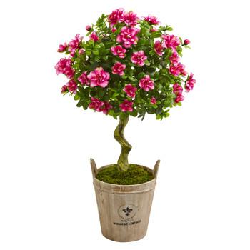 3 Azalea Artificial Topiary Tree in Farmhouse Planter - SKU #9293