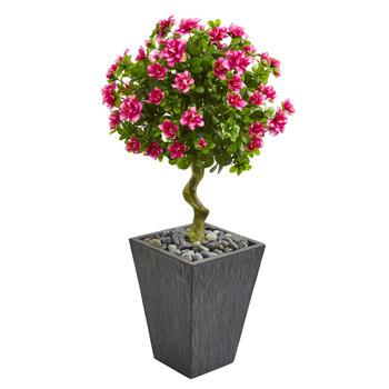 3.5 Azalea Artificial Topiary Tree in Slate Finished Planter - SKU #9294