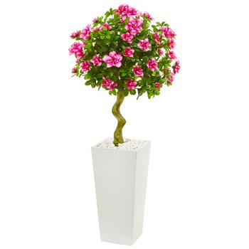 4 Azalea Artificial Topiary Tree in White Tower Planter - SKU #9297