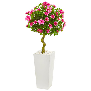 4 Azalea Artificial Topiary Tree in White Tower Planter - SKU #9297