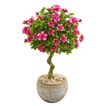 3 Azalea Artificial Topiary Tree in Bowl Planter - SKU #9298