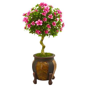 42 Azalea Artificial Topiary Tree in Decorative Planter - SKU #9299