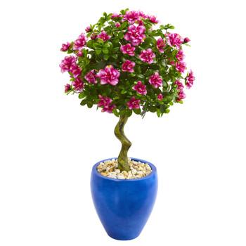 39 Azalea Artificial Topiary Tree in Blue Planter - SKU #9300